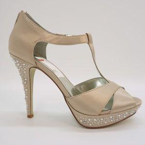 Style & Co Embellished High Heels Sandals Beige